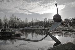 the spoonbridge and cherry at the minneapolis sculpture garden - stock photo