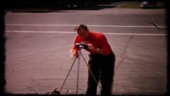 190 man sets of camera for self portrait - vintage film home movie Stock Footage