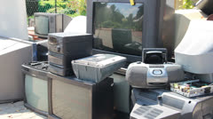 Stock Video Footage of Electronik junk. Electronic waste collection point 6.  Recycling.