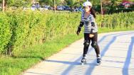Stock Video Footage of Rollerblade training