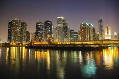 chicago downtown cityscape panorama - stock photo
