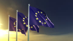 european union flags in the wind in slow motion - stock footage