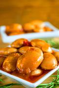 Appetizer white beans with tomato sauce Stock Photos