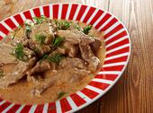 Stock Photo of beef stroganoff  closeup