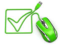 online checklist. computer mouse on white isolated background - stock illustration