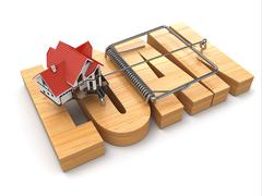 Stock Illustration of concept of loan. house and mousetrap.