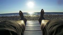 Enjoying vacation on summer beach - stock footage