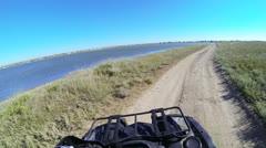 Riding quad bike POV Stock Footage