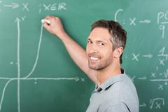 Stock Photo of teacher writing on chalkboard