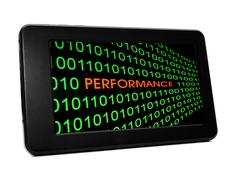 Performance on pc tablet Stock Photos