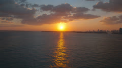 Aerial View of Sunset over the Ocean, Miami Stock Footage