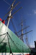 hull and rigging of a tall ship - stock photo