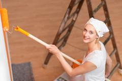 Stock Photo of woman renovation her house