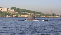 Submarine on the sea surface Stock Footage