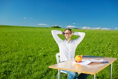 relaxed man - stock photo