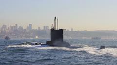 Navy Submarine. Close-up tracking shot - stock footage
