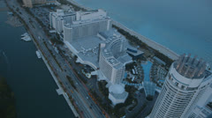 Aerial View of Miami Beach at Evening, Florida Stock Footage