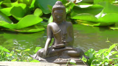 Buddha meditation on water Stock Footage