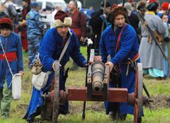artillery detachment by the cannon - stock photo