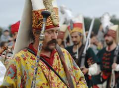 re-inactment of victory in battle near the molodi village 1572 - stock photo