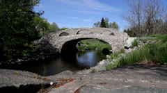 Cobblestone Bridge Slider Shot Stock Footage