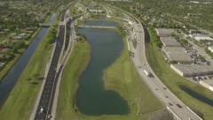 Aerial View of Miami Roads and Bridges, Florida Stock Footage