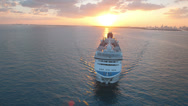 Aerial View of Cruise Ship, Miami - stock footage