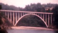 Old Vintage Film 1950s Russian Gulch Bridge California Highway 1 Scenic Drive    Stock Footage