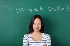female student learning english - stock photo