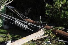 Power poles after auto crash Stock Photos