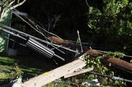 Stock Photo of power poles after auto crash