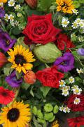 flower arrangement in bright colors - stock photo
