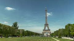 Eiffel tower great timelapse with people Stock Footage