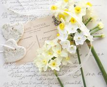 Pale flowers with hearts and old script Stock Photos
