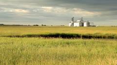 Grain Elevator on Prairie Stock Footage
