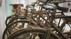 Old rusty bicycles Stock Footage