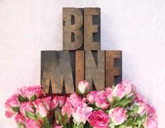 wood type be mine and little roses - stock photo
