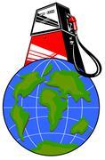 Fuel pump on globe Stock Illustration