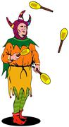 Jester juggling Stock Illustration