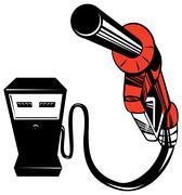 fuel pump station nozzle retro. - stock illustration