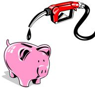 fuel pump station nozzle and piggy bank retro. - stock illustration