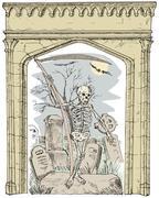 Cemetery arch grim reaper . Stock Illustration