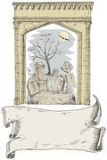 cemetery arch scroll retro style - stock illustration