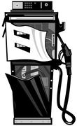 fuel pump station retro. - stock illustration