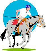 Stock Illustration of equestrian show jumping retro.