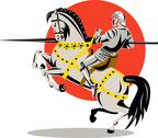 Stock Illustration of knight on horse with sword.