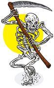 Stock Illustration of grim reaper skeleton stance