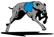 Stock Illustration of greyhound dog racing retro.