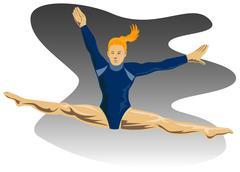 Stock Illustration of gymnast jumping split