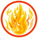 Stock Illustration of fire inside circle